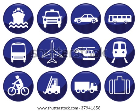 Transport icon set each icon individually layered