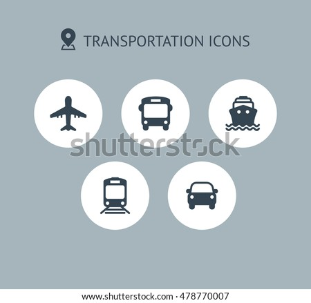 Transport icons. Airplane, Public bus, Train, Ship/Ferry and auto signs. Shipping delivery symbol. Air mail delivery sign. Circle concept web buttons. Vector