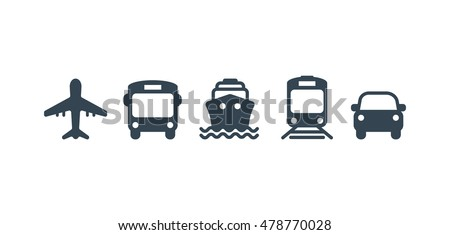 Transport icons. Airplane, Public bus, Train, Ship/Ferry and auto signs. Shipping delivery symbol. Air mail delivery sign. Vector