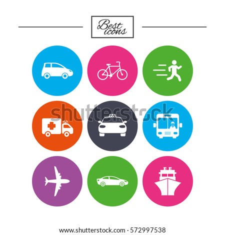 Transport icons. Car, bike, bus and taxi signs. Shipping delivery, ambulance symbols. Classic simple flat icons. Vector
