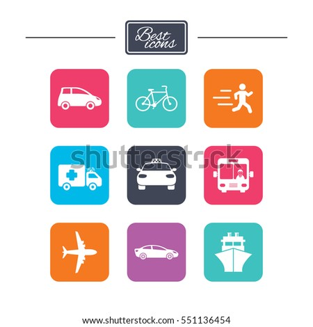 Transport icons. Car, bike, bus and taxi signs. Shipping delivery, ambulance symbols. Colorful flat square buttons with icons. Vector