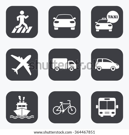 Transport icons. Car, bike, bus and taxi signs. Shipping delivery, pedestrian crossing symbols. Flat square buttons with rounded corners.