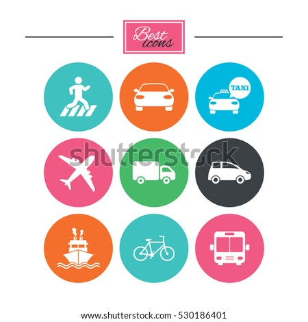 Transport icons. Car, bike, bus and taxi signs. Shipping delivery, pedestrian crossing symbols. Colorful flat buttons with icons. Vector