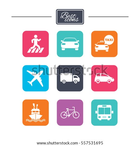 Transport icons. Car, bike, bus and taxi signs. Shipping delivery, pedestrian crossing symbols. Colorful flat square buttons with icons. Vector #557531695