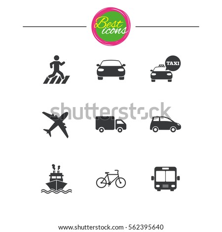 Transport icons. Car, bike, bus and taxi signs. Shipping delivery, pedestrian crossing symbols. Classic simple flat icons. Vector