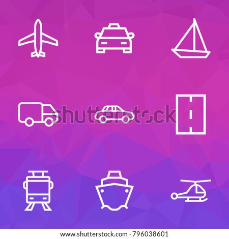 Transport icons line style set with helicopter, bogie, cargo and other road elements. Isolated vector illustration transport icons.