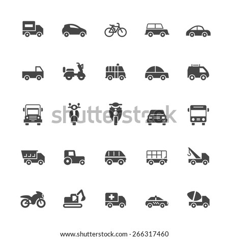 Transport icons on White Background Vector Illustration