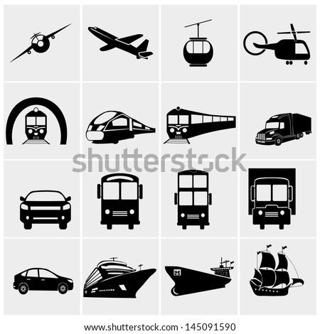Transport icons set, basic series