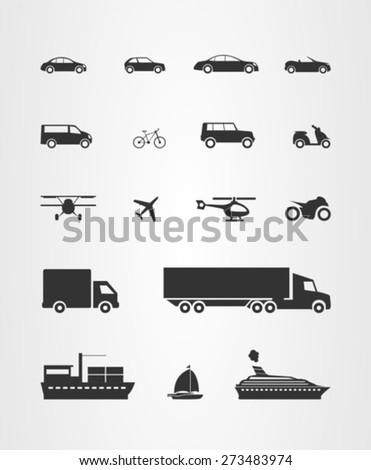 transport icons set  cars
