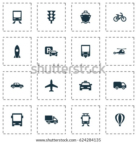 Transport Icons Set. Collection Of Airship, Chopper, Aircraft And Other Elements. Also Includes Symbols Such As Chopper, Airplane, Streetcar.