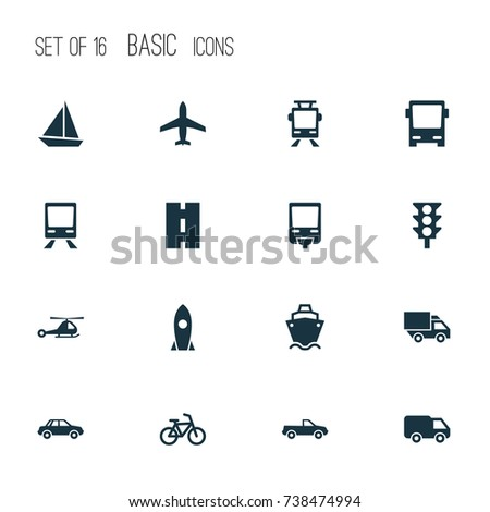 Transport Icons Set. Collection Of Bicycle, Cabriolet, Omnibus And Other Elements. Also Includes Symbols Such As Flight, Cargo, Autobus.