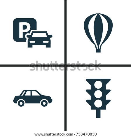 Transport Icons Set. Collection Of Road Sign, Airship, Automobile And Other Elements. Also Includes Symbols Such As Light, Car, Auto.