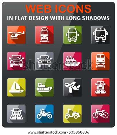 transport icons set in flat design with long shadow