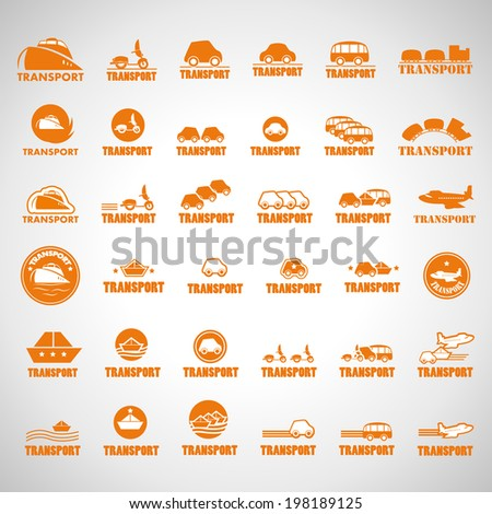 Transport Icons Set - Isolated On Gray Background - Vector Illustration, Graphic Design Editable For Your Design