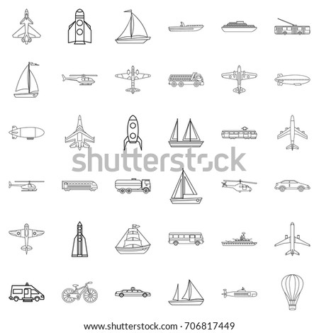 Transport icons set. Outline style of 36 transport vector icons for web isolated on white background