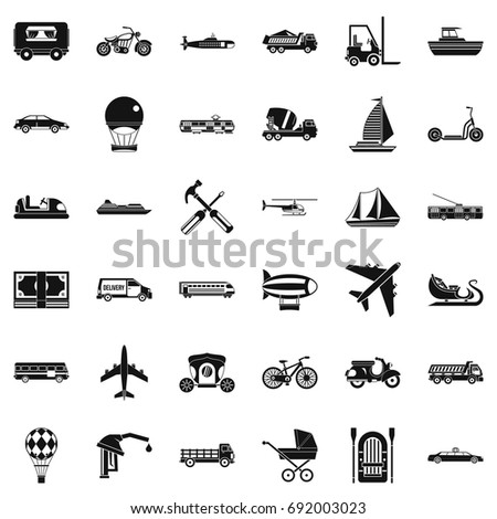 Transport icons set. Simple style of 36 transport vector icons for web isolated on white background
