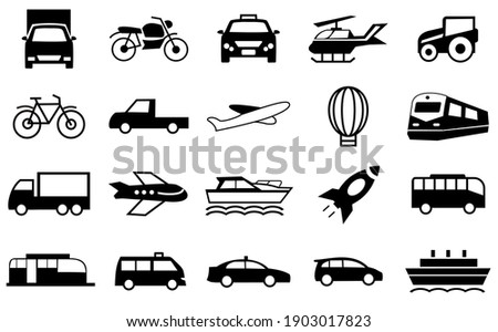 Transport Icons Set, transportation symbol illustration. car, train, boat, truck, plane, ballon and more. editable file. vector
