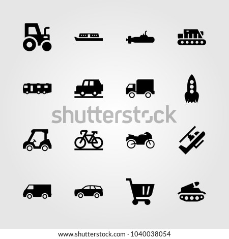 Transport icons set. Vector illustration sport bike, boat, lorry and shopping cart
