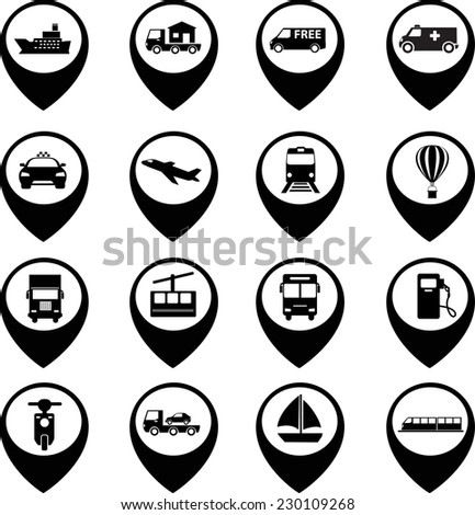Transport icons set with map
