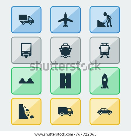 Transport icons set with railroad, landslide, way railroad elements. Isolated vector illustration transport icons.