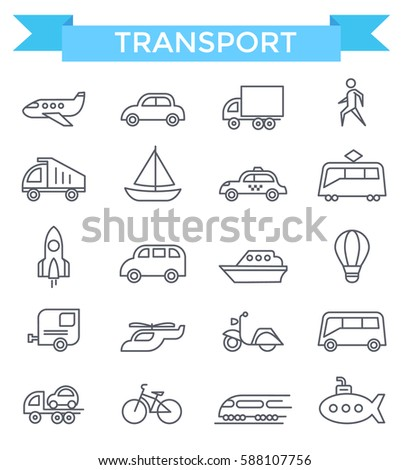Transport icons, thin line, flat design