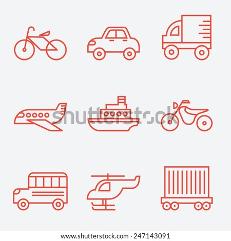 transport icons  thin line