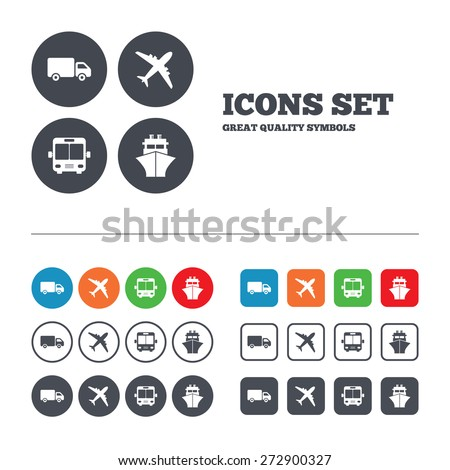 Transport icons. Truck, Airplane, Public bus and Ship signs. Shipping delivery symbol. Air mail delivery sign. Web buttons set. Circles and squares templates. Vector