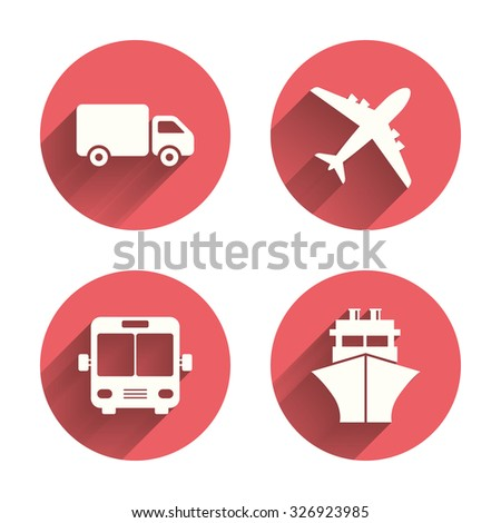 Transport icons. Truck, Airplane, Public bus and Ship signs. Shipping delivery symbol. Air mail delivery sign. Pink circles flat buttons with shadow. Vector