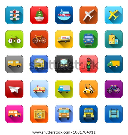 Transport Icons - vector car, ship, truck, vehicle bus - travel icons