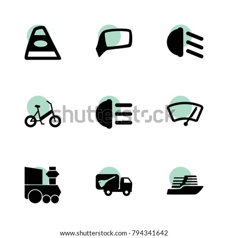 Transport icons. vector collection filled transport icons set.. includes symbols such as back car light, hight beem light, low beem light. use for web, mobile and ui design.