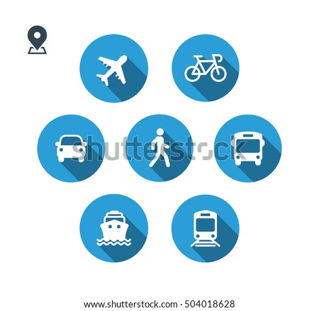 Transport icons. Walk man, Bike, Airplane, Public bus, Train, Ship/Ferry and auto signs. Shipping delivery symbol. Air mail delivery sign. Flat shadow. Vector