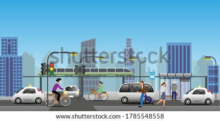 Transport in a modern city. Renewable electrified city transports. Driverless municipal vehicles, public transports and electric bikes.  Vector Illustration.