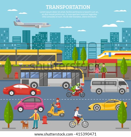 transport in city poster with
