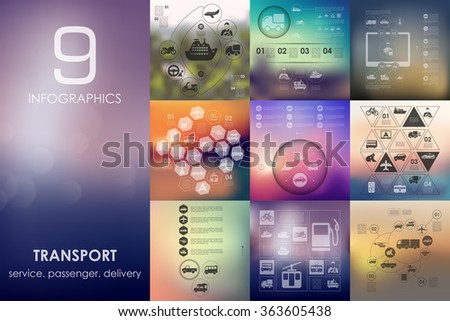transport infographic with unfocused background