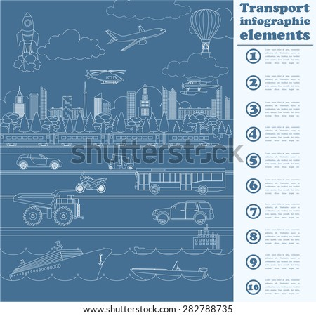 Transport infographics elements. Cars, trucks, public, air, water, railway transportation. Retro styled illustration. Vector