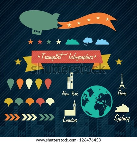 Transport Infographics with (airship and cities). On dark background.
