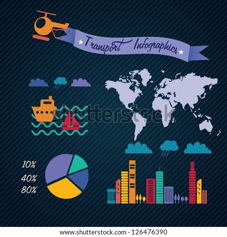 Transport Infographics with (buildings,map, world, continents, airplane, sailboat).On dark background