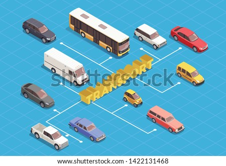 Transport isometric flowchart with various vehicles on blue background 3d vector illustration