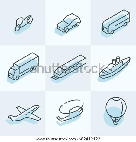 Transport Isometric Icons
