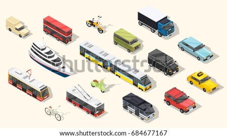 Transport isometric set of isolated urban transportation vehicles tramway cars trolley buses and two-wheel transport with shadows vector illustration