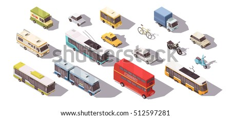 Transport isometric set with bus car and bicycle isolated vector illustration