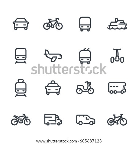 Transport line icons over white, cars, train, airplane, van, bike, motorbike, bus, taxi, trolleybus, subway, public transportation, air and