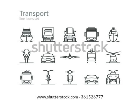 Transport. Line icons set. Colorless. Stock vector.
