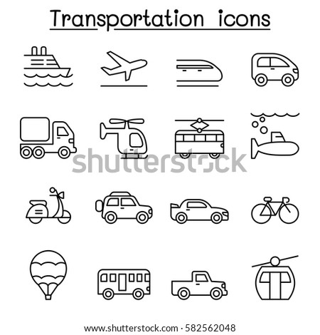 Transport & Logistic icon set in thin line style #582562048