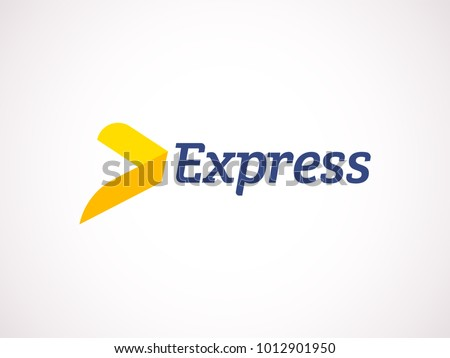 Transport logistic logo of express arrow moving forward for courier delivery or post mail shipping service. Vector isolated icon template for transportation and postal logistics company design