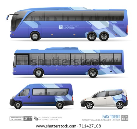 Transport Mockup of Coach Bus, City Bus, Passenger Van, Delivery Car. Dark blue abstract graphics geometric elements for Brand identity and Corporate style. Hi-detailed bus mockup