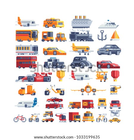 Transport pixel art icons set airplane truck taxi sports car motorcycle truck ship isolated vector illustration design for stickers, embroidery, mobile app. Logo transport company. 8-bit. Game assets.