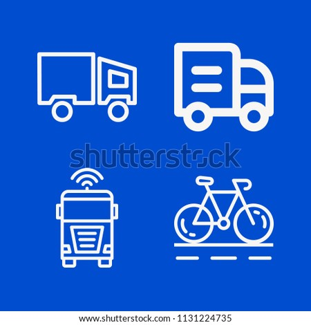 Transport related set of 4 icons such as bicycle, lorry
