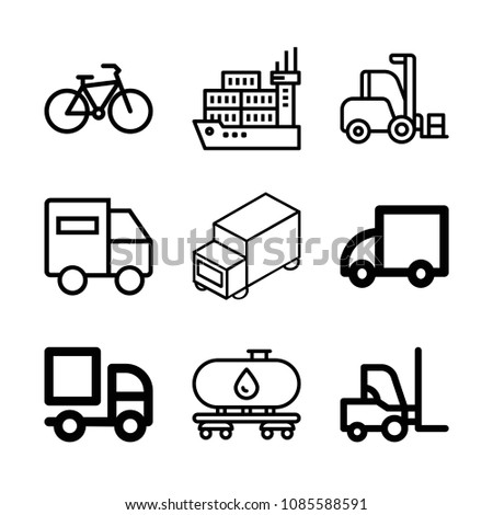 Transport related set of 9 icons such as bicycle, oil tanker, forklift, shipping, lorry, truck