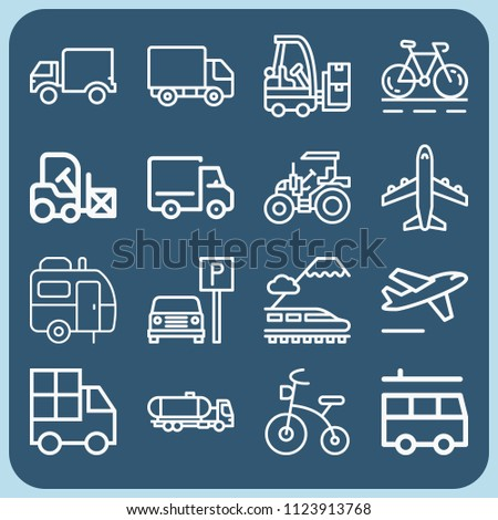 Transport related set of 16 icons such as plane, bicycle, parking, tractor, train, caravan, tank truck, forklift, departures, lorry, truck